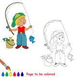 Young fisherman in cap caught fish with rod. Cartoon character. Kid summer game. Coloring book. Page to be color.  Outdoor games for children Stock Images