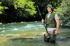 Free Young Fisherman Posing With Fishing Pole Royalty Free Stock Images - 20152049