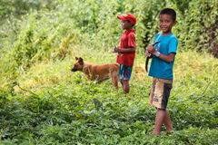 Young Fisherman at Rhi Lake, Myanmar (Burma) Royalty Free Stock Photo