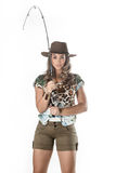 Young fisherwoman Stock Photography