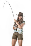 Young fisherwoman Stock Images