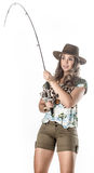 Young fisherwoman. Posing isolated on white background royalty free stock photos