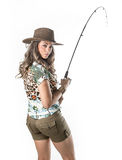 Young fisherwoman. Posing isolated on white background stock photos