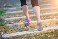 Young Fit Adult Woman Outdoors Walking or Running Up Wooden Step Stock Photography
