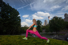 Young fit Athletic woman exercising in Central Park. Young Blonde fit Athletic woman exercising in Central Park Royalty Free Stock Photos