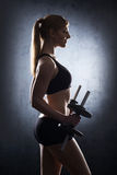 Young and fit blond woman in sporty lingerie Stock Photo