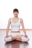 A young and fit brunette doing yoga exercise Royalty Free Stock Photography