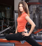 A young and fit brunette in the gym Royalty Free Stock Photography