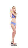 A young and fit Caucasian woman in blue lingerie Stock Photography
