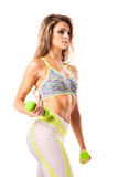 Young fit female working out on white Royalty Free Stock Photos