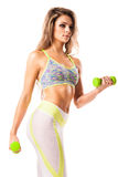 Young fit female working out on white Stock Image