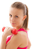 Young fit girl with dumbbells Royalty Free Stock Photo