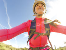 Young fit girl mountain biking - Point of View Perspective stock image