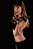 Young fit girl working out with weights Stock Images