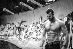 Young fit macho man posing in front of graffiti wall Stock Photos
