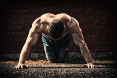 Young fit man showing his muscles. Toned and stylized photo Royalty Free Stock Image