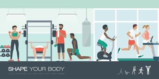 People exercising at the gym. Young fit people exercising together at the gym, running, cycling and weightlifting; healthy lifestyle and sports concept stock illustration