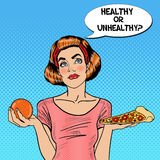 Young Fit Pop Art Woman Choosing Between Healthy and Unhealthy Food - Orange and Pizza. Vector illustration Stock Photos