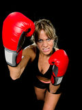 Young fit and strong attractive boxer girl with red boxing gloves fighting throwing aggressive punch training workout in gym feeli Royalty Free Stock Photography