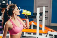 Young fit woman with energy drink relaxing and drinking in the gym. Sport and fittness concept.  Royalty Free Stock Image