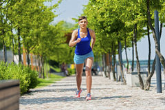 Young fit woman jogging in the city park. Royalty Free Stock Photography