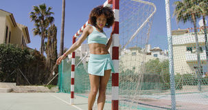 Young fit woman on playground Stock Images