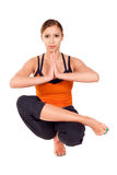 Young Fit Woman Practicing Yoga Exercise royalty free stock images