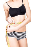 Young fit woman wearing black bra and panties, holding measuring tape with her hands on waistline, isolated a white. Young fit woman wearing black bra and Royalty Free Stock Photos
