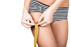 Young fit woman wearing striped panties, holding measuring tape with her hands on thigh, isolated a white background Stock Photography