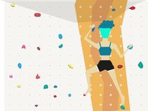 Young fitness athletic woman doing professional bouldering in climbing gym indoors royalty free illustration