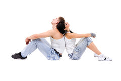Young fitness couple wearing jeans in the studio Stock Photo
