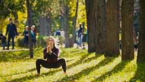 Young fitness female model Exercising in a Meadow at autumn park, Sports Outdoor Activities concept - squats. Telephoto stock image