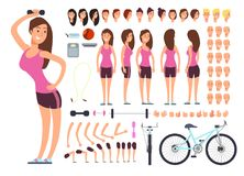 Young fitness female, sportswoman. Vector creation constuctor with big set of woman body parts and sport equipment. Woman character body and sport constructor Royalty Free Stock Photos