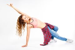 Young fitness girl dancing zumba isolated on white royalty free stock image