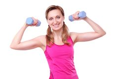 Young fitness girl making exercises stock image