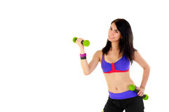 Young Fitness Instructor against white background Stock Images