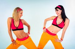 Young fitness instructor girls Royalty Free Stock Images