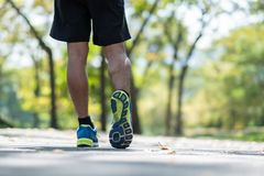 Young fitness man legs walking in the park outdoor, male runner running on the road outside, asian athlete jogging and exercise on. Footpath in sunlight morning royalty free stock photo