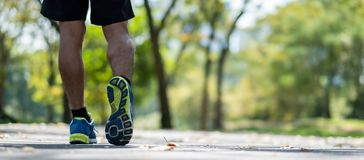 Young fitness man legs walking in the park outdoor, male runner running on the road outside, asian athlete jogging and exercise on. Footpath in sunlight morning royalty free stock photos