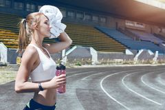 Young fitness muscle sporty runner girl / woman / female Royalty Free Stock Image