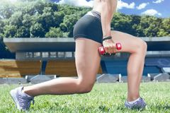 Young fitness muscle sporty runner girl / woman / female Stock Photos