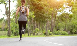 Young fitness sport woman running on the road in the morning, Young fitness sportswoman runner running on tropical park trail. Peo. Ple and sport concept royalty free stock photos
