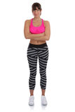 Young fitness sports woman workout standing fit slim full body i stock images
