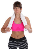 Young fitness sports workout woman portrait with towel isolated. On a white background Stock Images