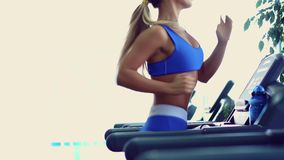 Young fitness woman doing cardio exercises at the gym running on a treadmill. Female runner training at the health club stock video footage