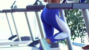 Young fitness woman doing cardio exercises at the gym running on a treadmill. Female runner training at the health club stock video