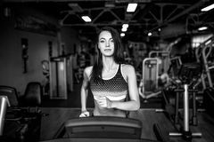 Young fitness woman doing cardio exercises at the gym running on a treadmill. Stock Photos