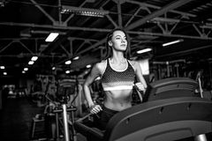 Young fitness woman doing cardio exercises at the gym running on a treadmill. Female runner training at the health club Stock Photography