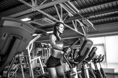Young fitness woman doing cardio exercises at the gym running on a treadmill. Female runner training at the health club Royalty Free Stock Image
