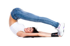 Young fitness woman doing exercise Stock Photo